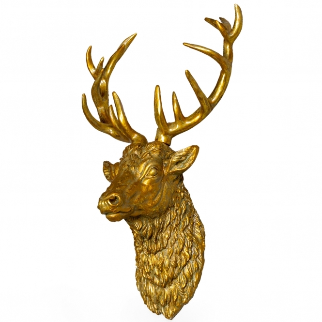 Large Antique Gold Effect Stag Wall Head