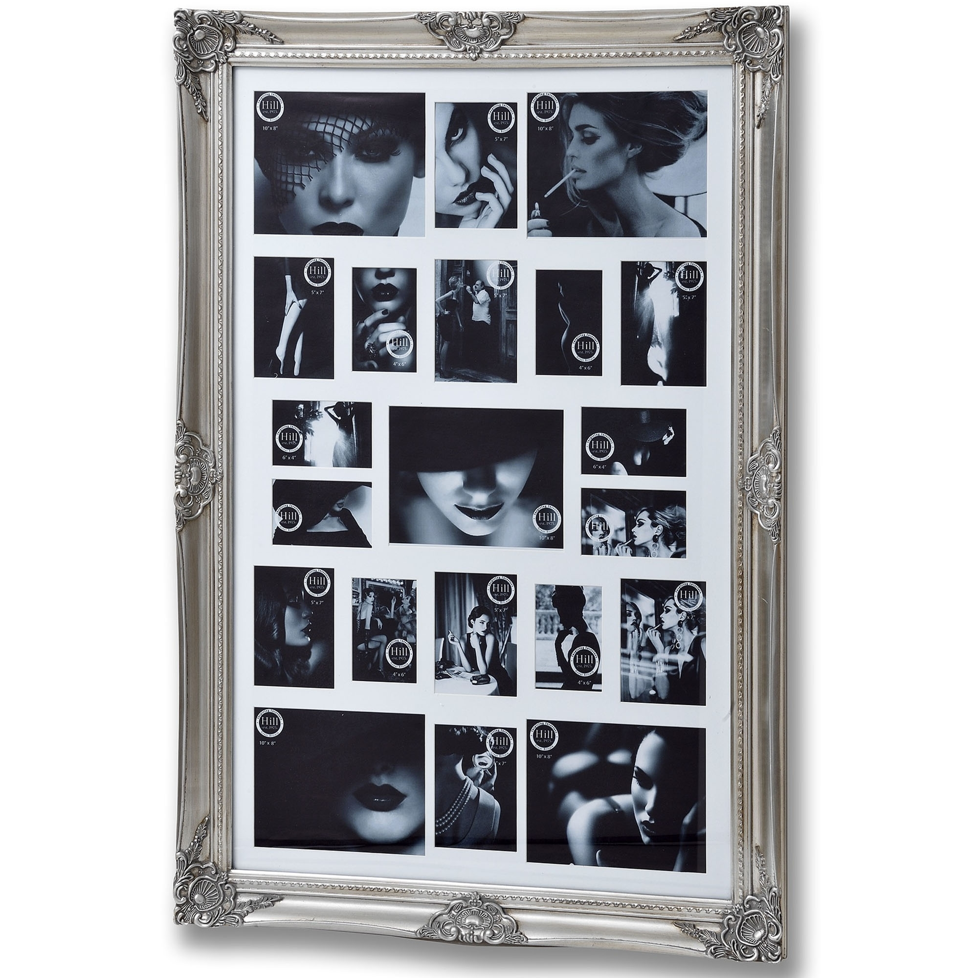 Large Antique Silver Ornate Multi Photo Frame | Antique Photo Frames