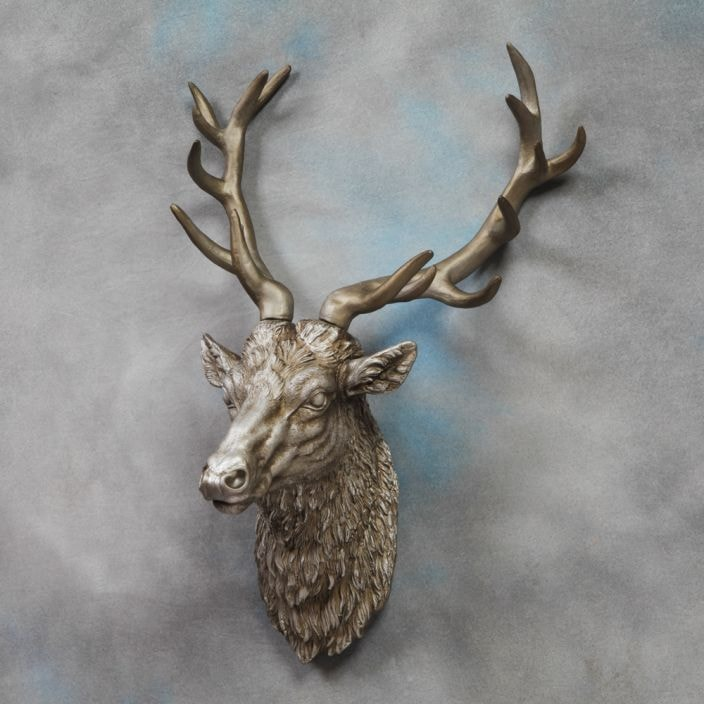 Large Antique Silver Stag Head Deer Head Stag Head