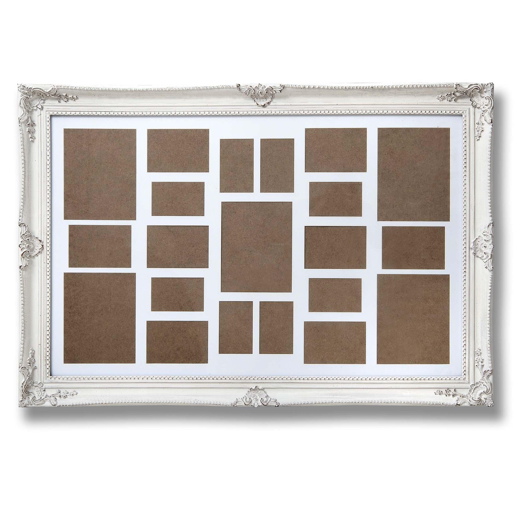 Large Antique White Ornate Multi-Photo Frame | HomesDirect365
