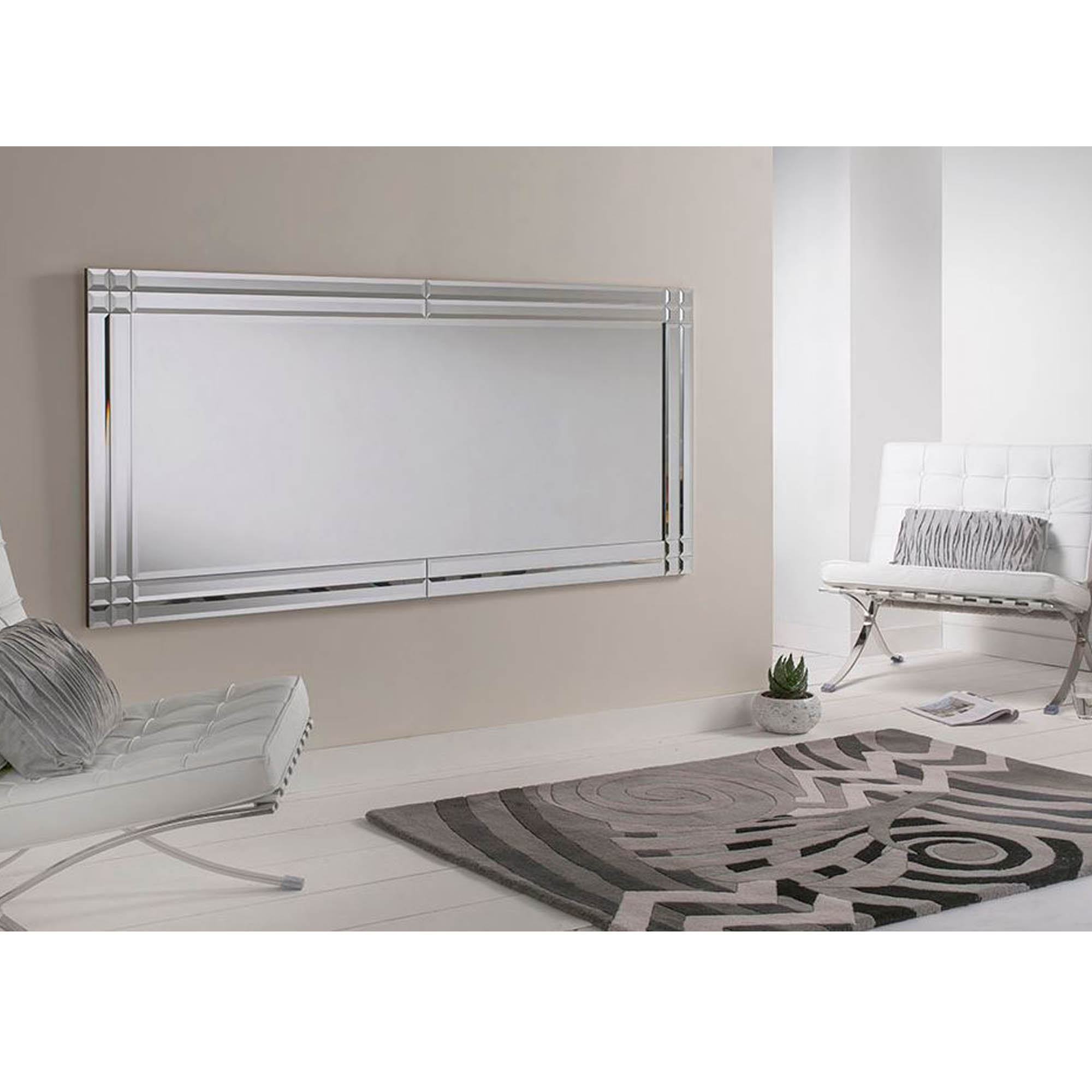 Large Bevelled Rectangular Wall Mirror | Contemporary ... on Wall Mirrors id=27924