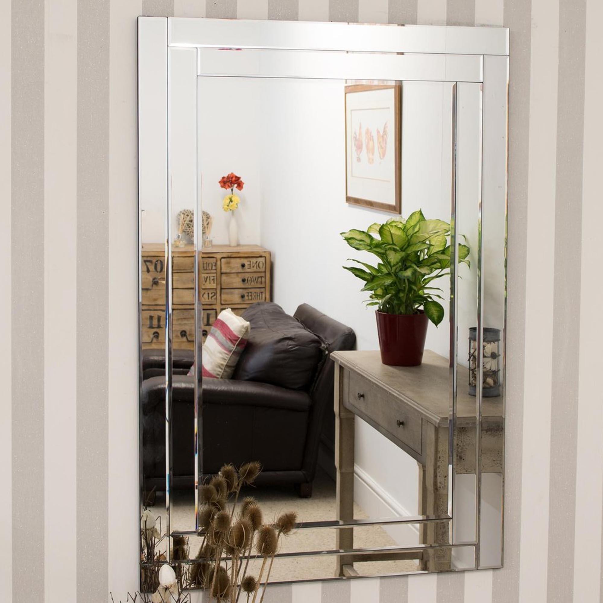 Large Bevelled Venetian Frameless Wall Mirror | HomesDirect365