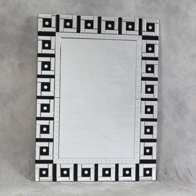 Large Black And Clear Venetian Mirror