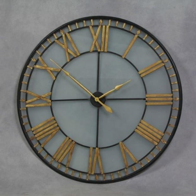 Large Black Antique French Style Wall Clock