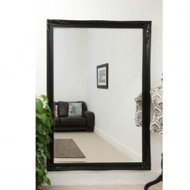 Large Black Ornate Antique French Style Mirror