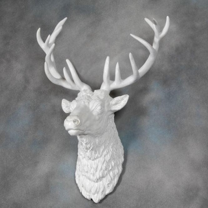 Large Bright White Stag Wall Head