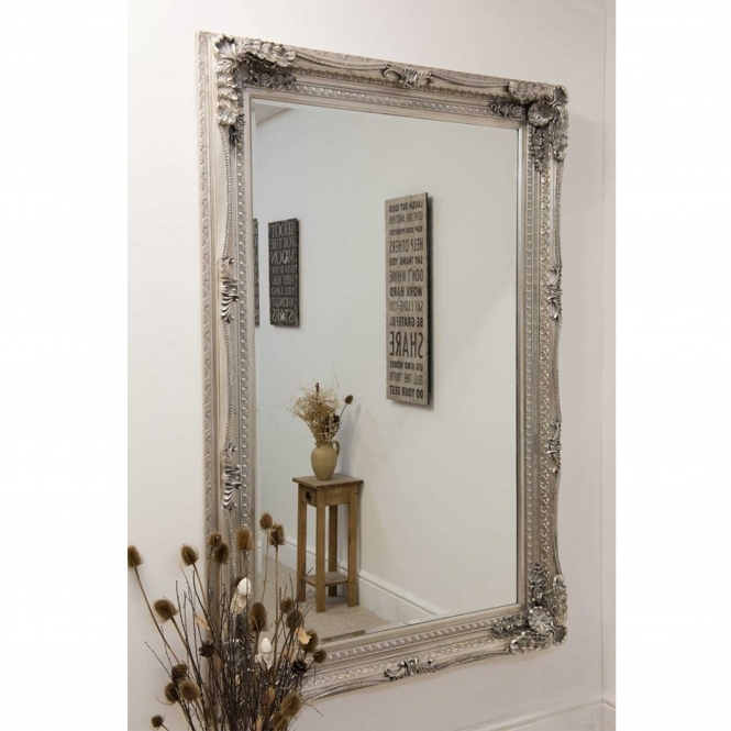 Large Carved Silver Louis Antique French Style Mirror