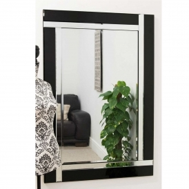 Large Contemporary Black Venetian Mirror