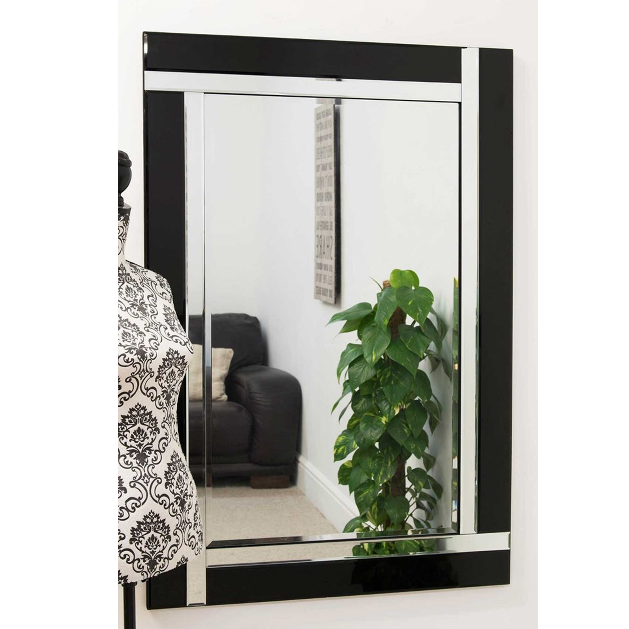 Large contemporary black venetian mirror decorative for Large contemporary mirrors