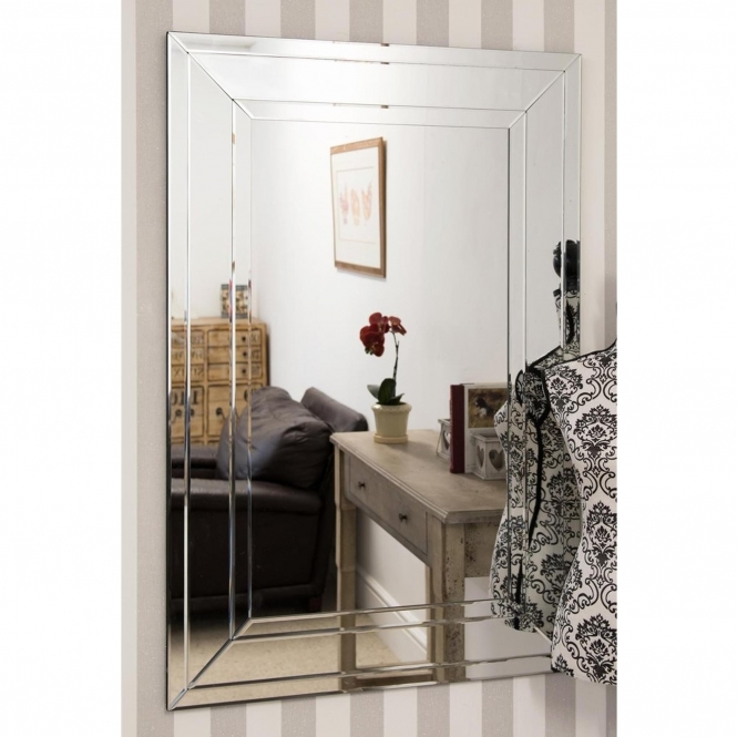 Large Detailed Venetian Frameless Wall Mirror