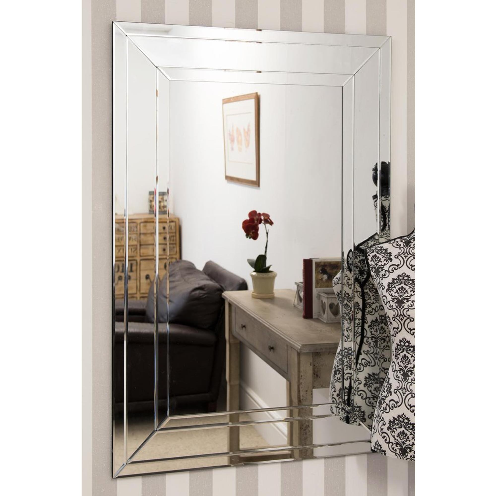 Large Detailed Venetian Frameless Wall Mirror | HomesDirect365 on Wall Mirrors id=43578