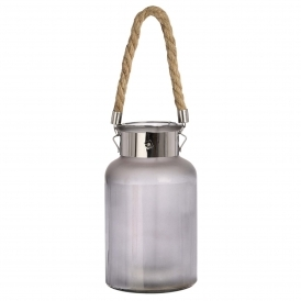 Large Frosted Grey Glass Jar Light