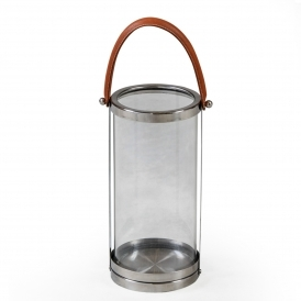 Large Glass & Stainless Steel Lantern