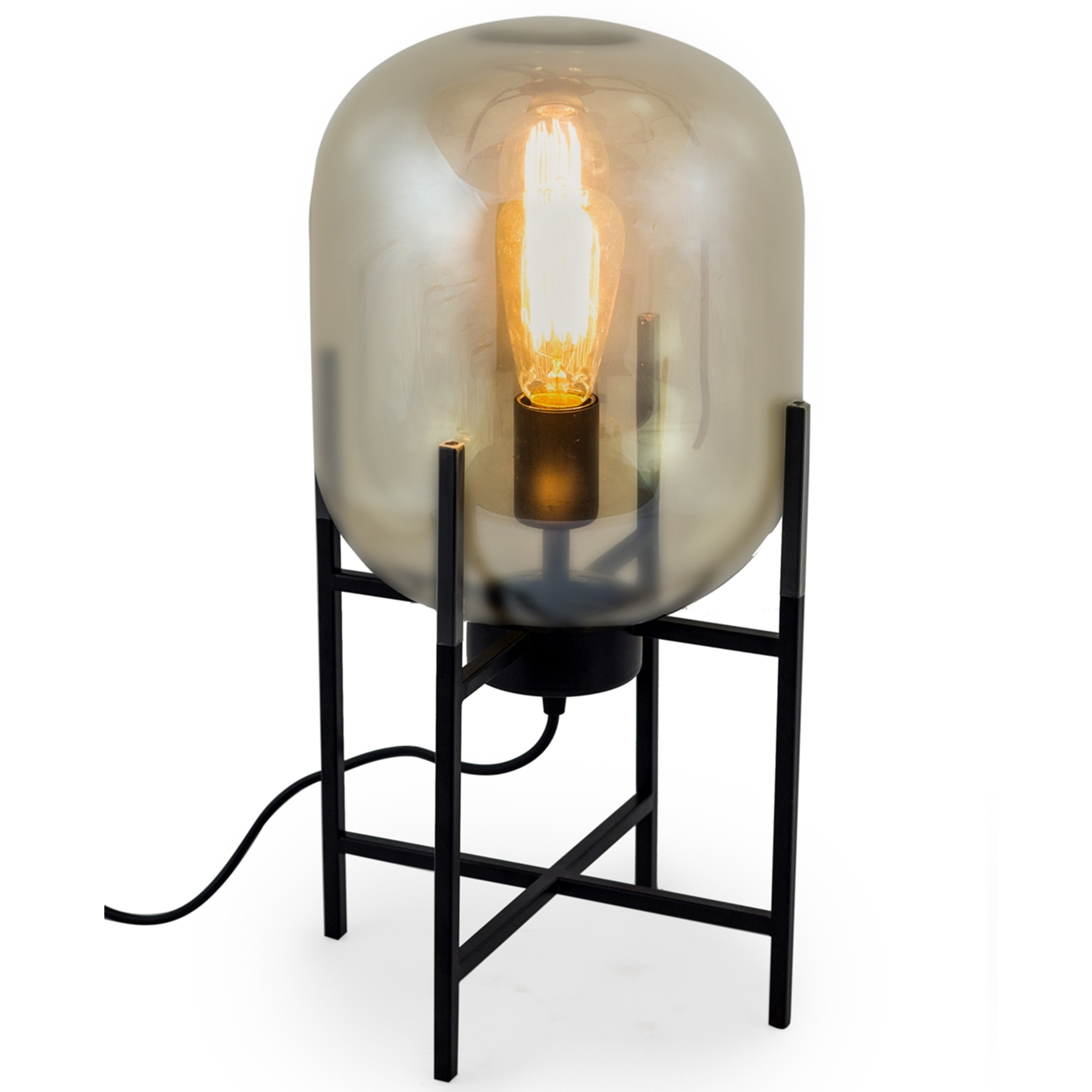 Large Gold Glass Edison Table Lamp