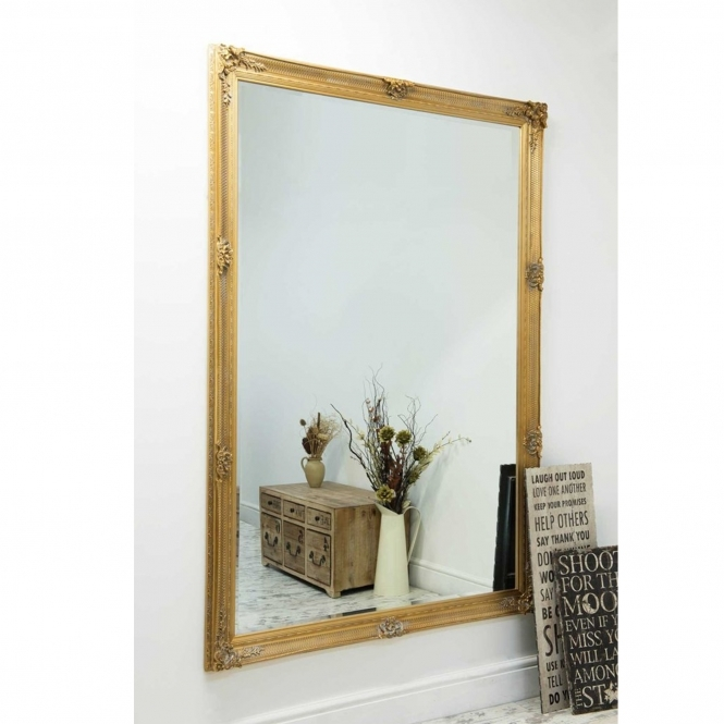 Large Gold Ornate Antique French Style Mirror