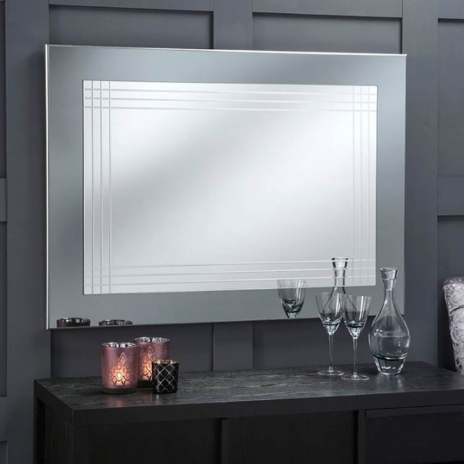 Large Grey Framed Contemporary Wall Mirror