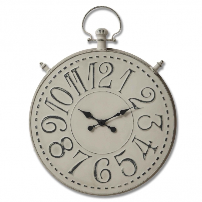Large Grey Pocket Watch Wall Clock