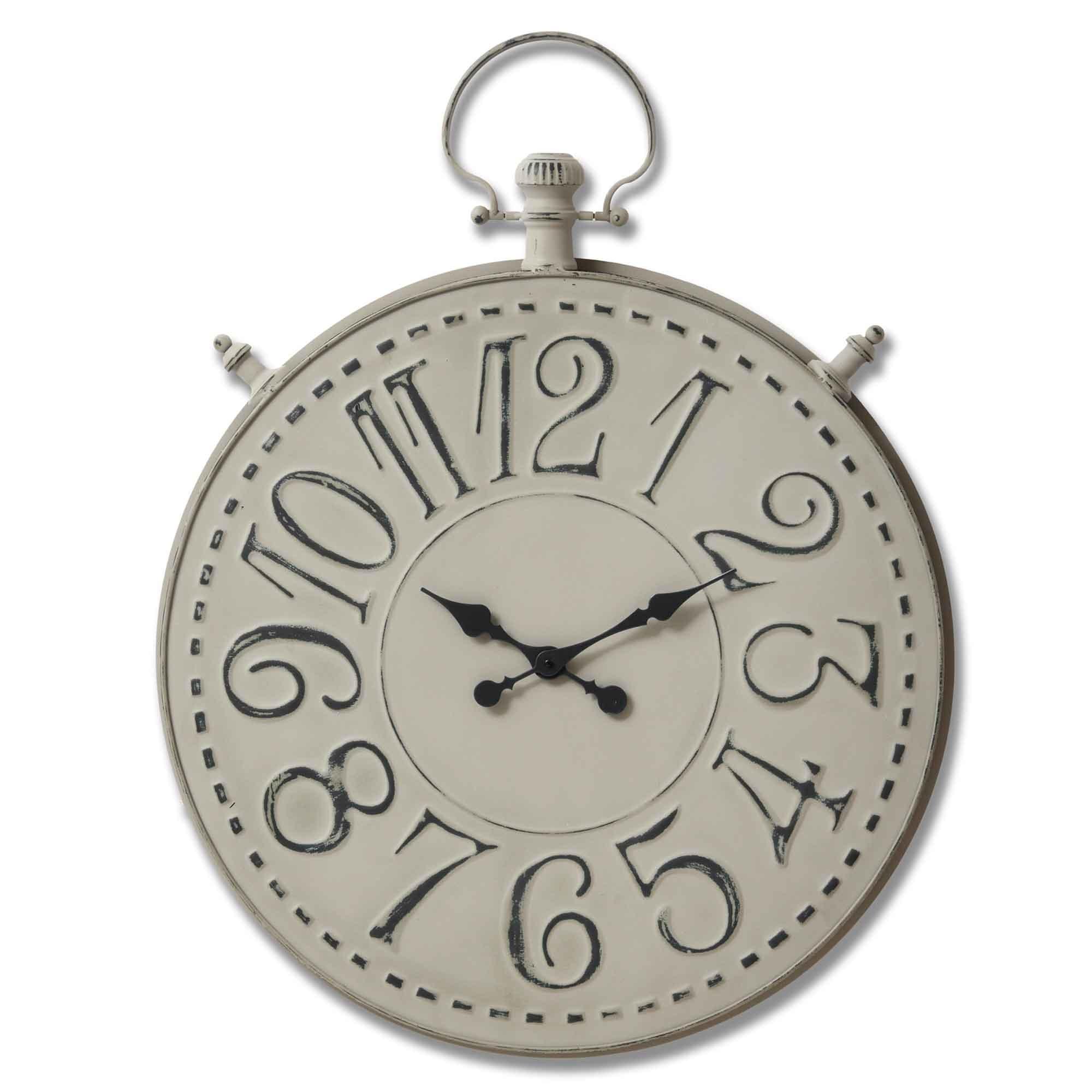 Large Grey Pocket Watch Wall Clock Clock Homesdirect365