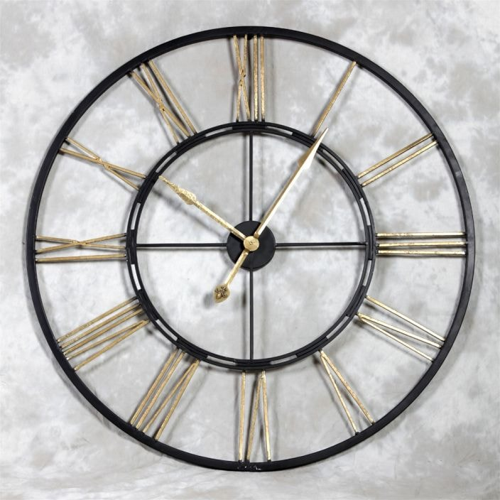 Large Iron Black Amp Gold Wall Clock Home Accessories