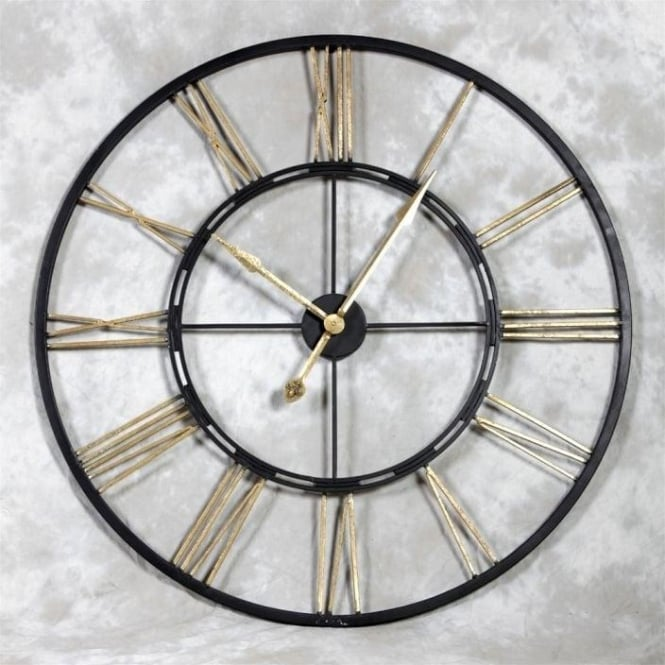 Large Iron Black & Gold Wall Clock
