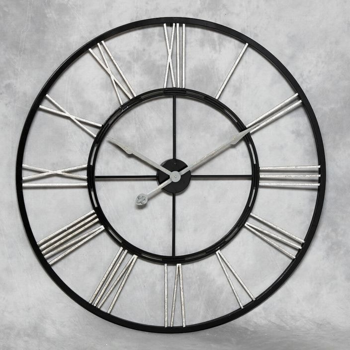 Large Iron Black Amp Silver Wall Clock French Home Accessories