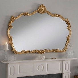Large Louis Style Gold Overmantle Mirror
