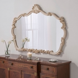 Large Louis Style Ivory Overmantle Mirror