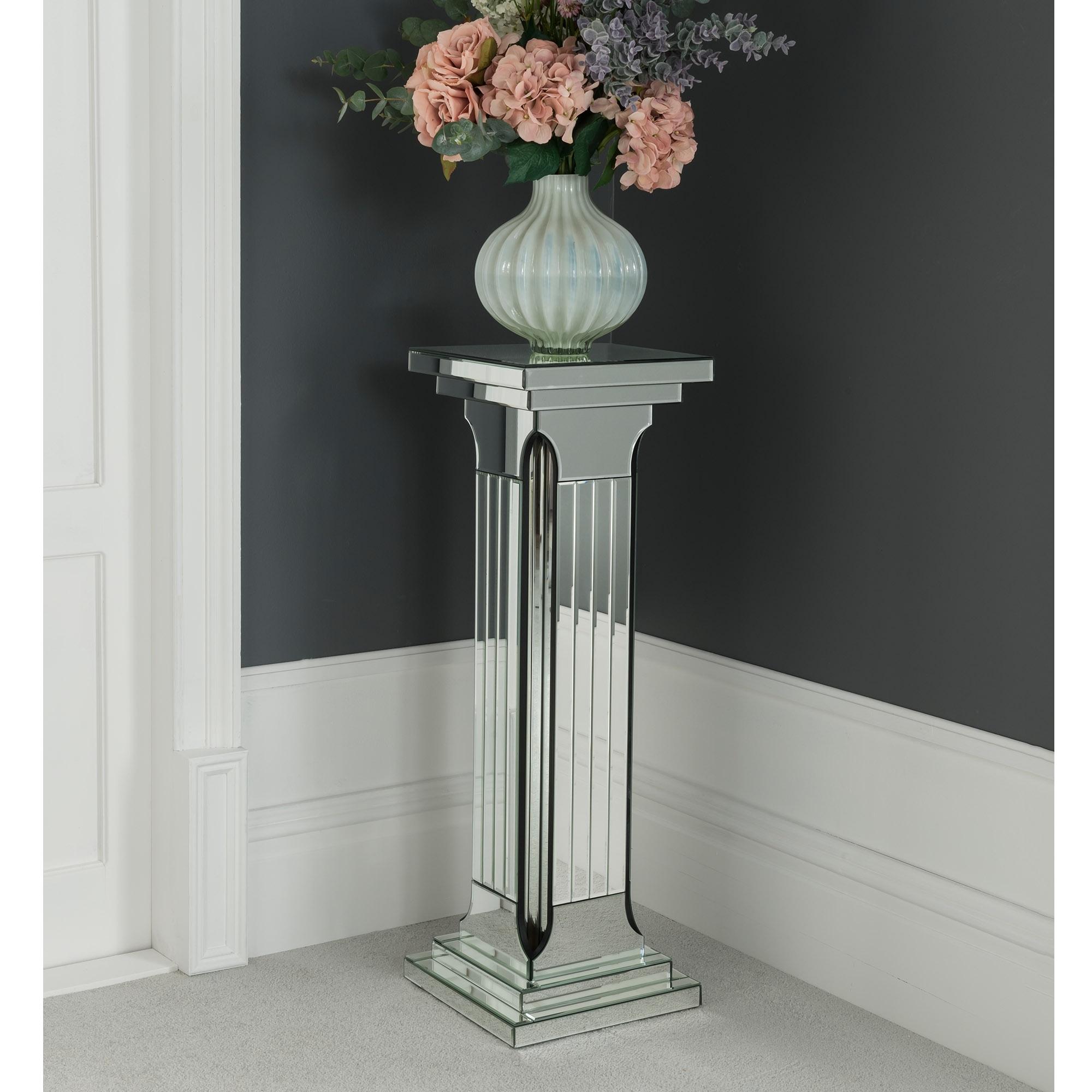 Large Mirrored Column Pedestal Venetian Mirrored Furniture