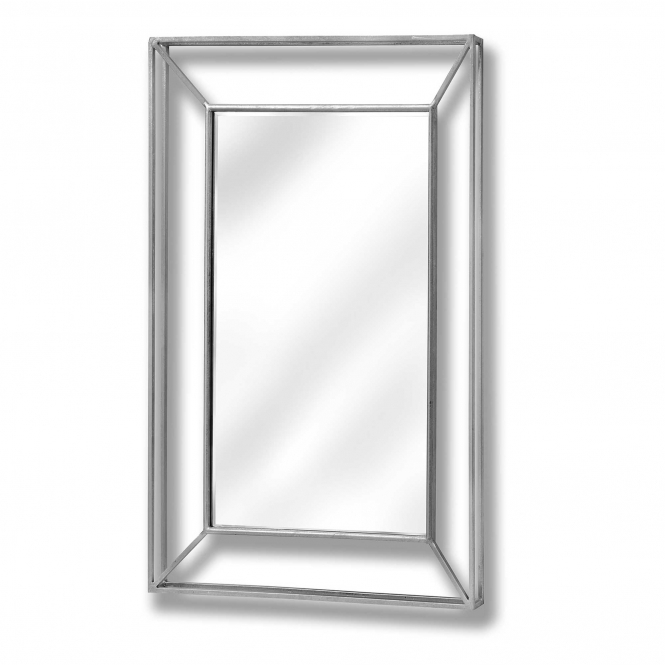 Large Mirrored Silver Wall Mirror
