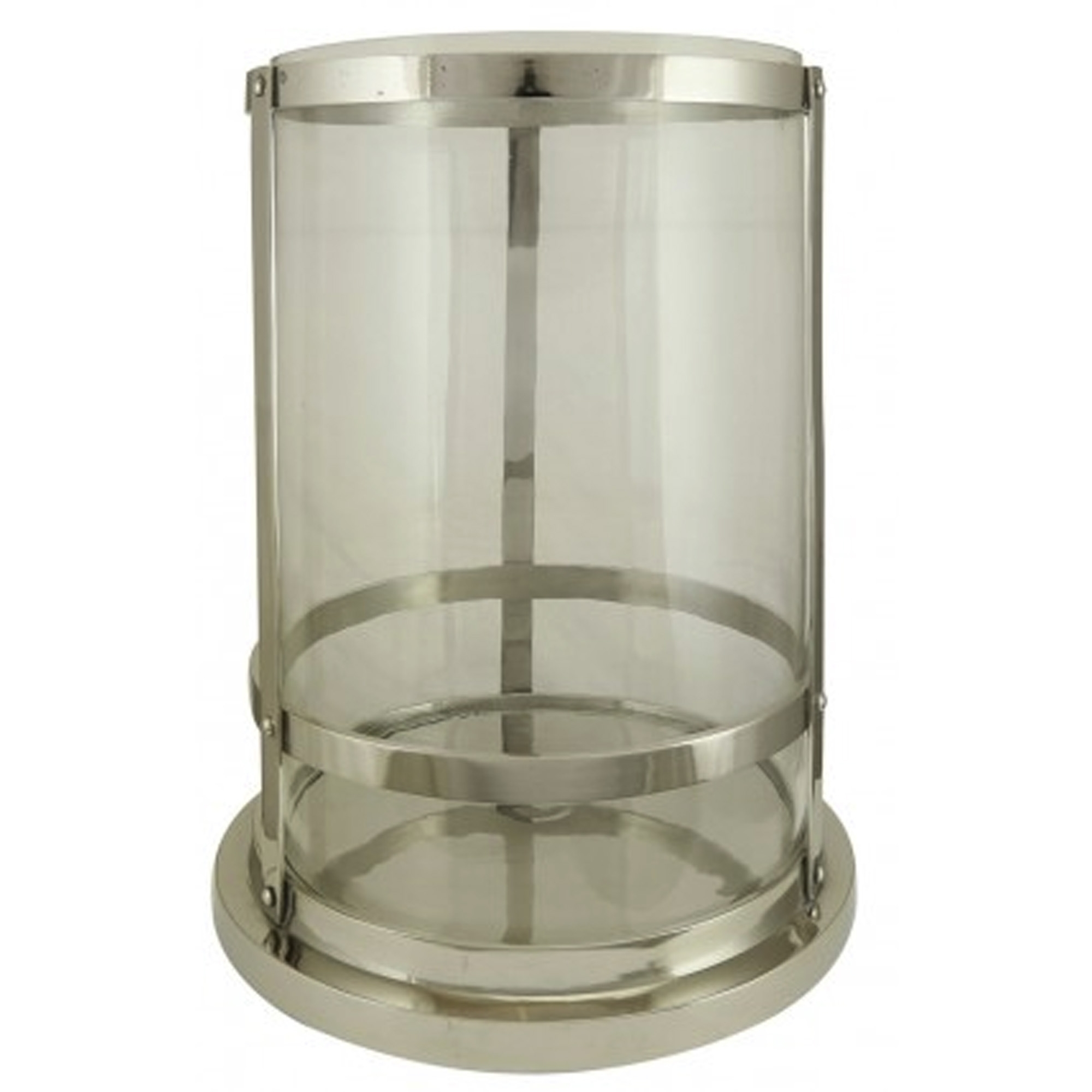 Large nickel glass candle holder