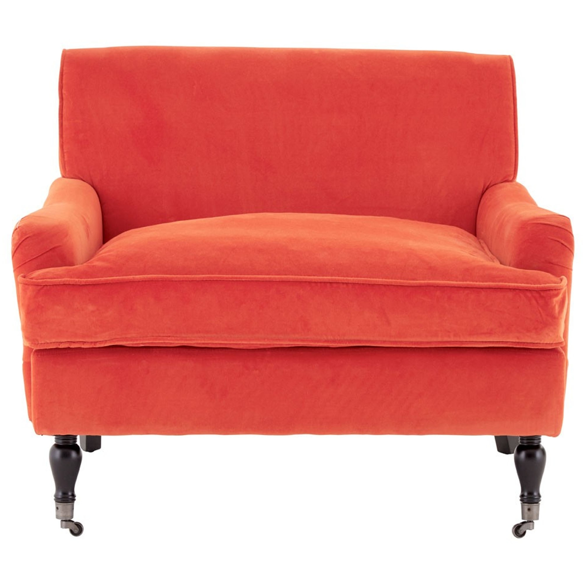 Large Orange Plush Velvet Chair | Modern & Contemporary ...