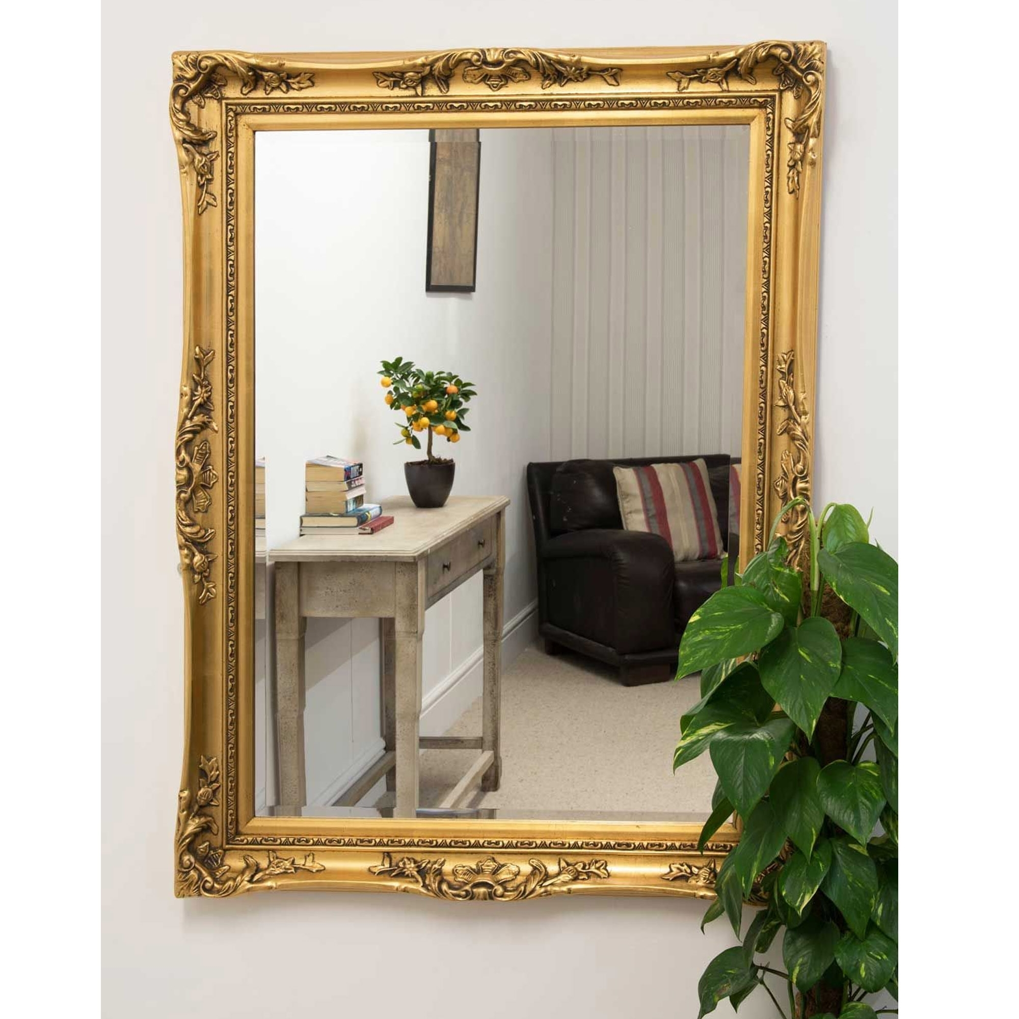 Large Gold Ornate Antique French Mirror
