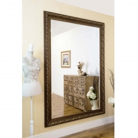 Large Rectangular Antique French Style Bronze Wall Mirror