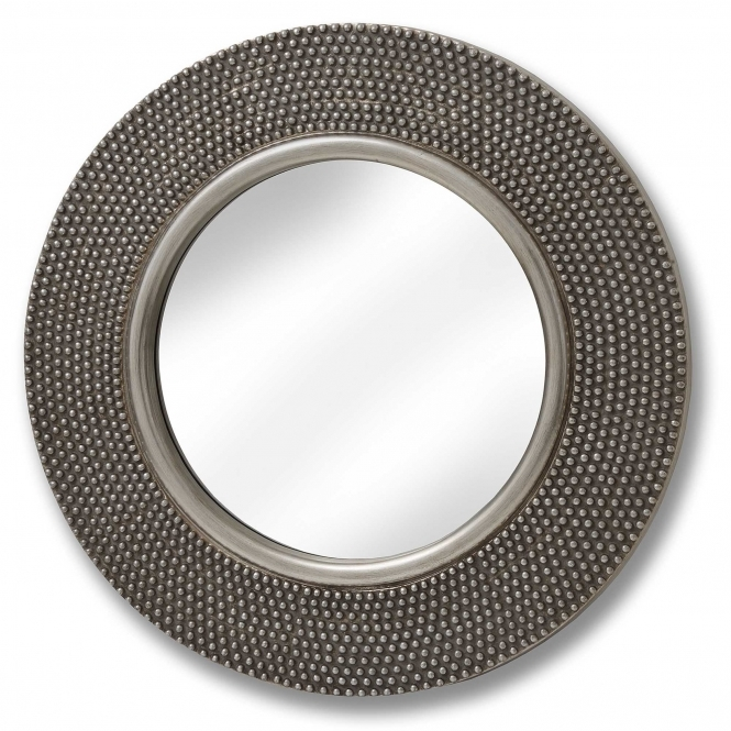 Large Round Beaded Wall Mirror