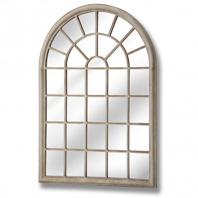 Large Rustic Arched Window Wall Mirror