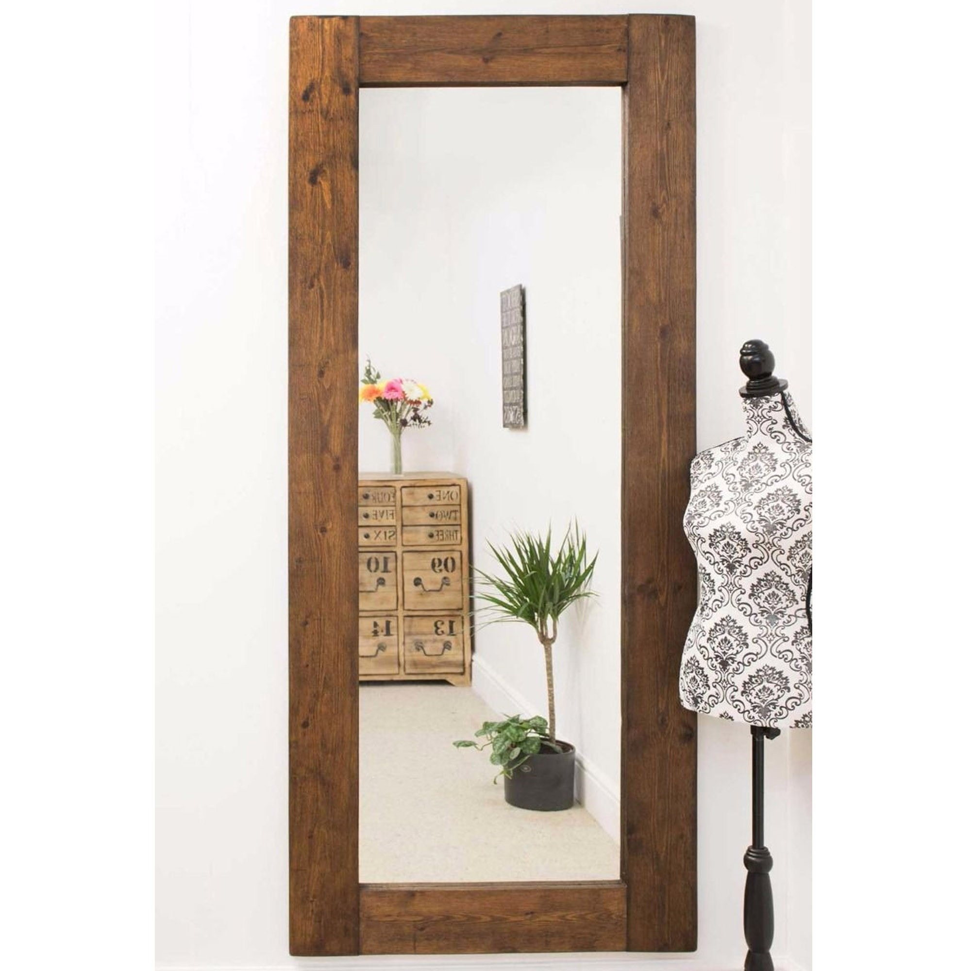 Large Rustic Wall Mirror Decorative Wooden Mirrors