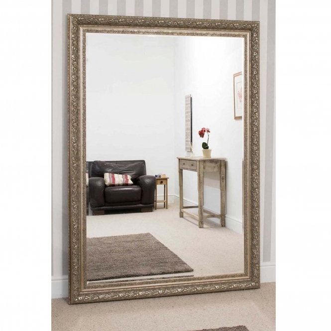 Large Silver Antique French Style Mirror