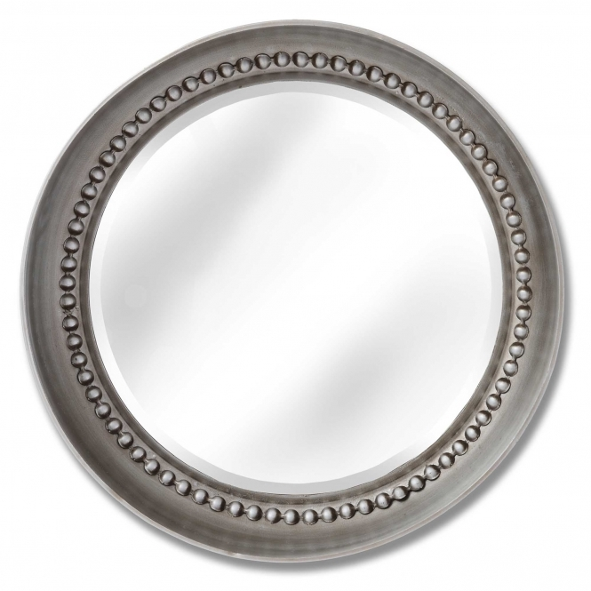 Large Silver Beaded Dish Wall Mirror