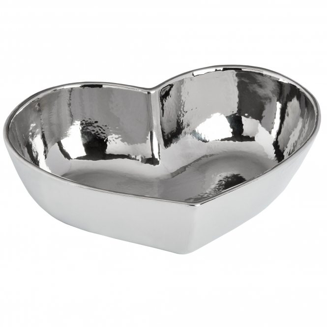 Large Silver Ceramic Heart Display Dish