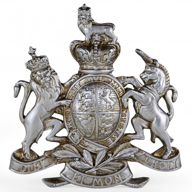Large Silver Coat of Arms Wall Plaque