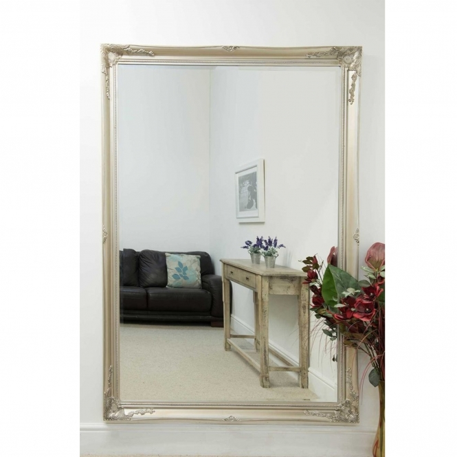 Large Silver Deorative Antique French Style Mirror
