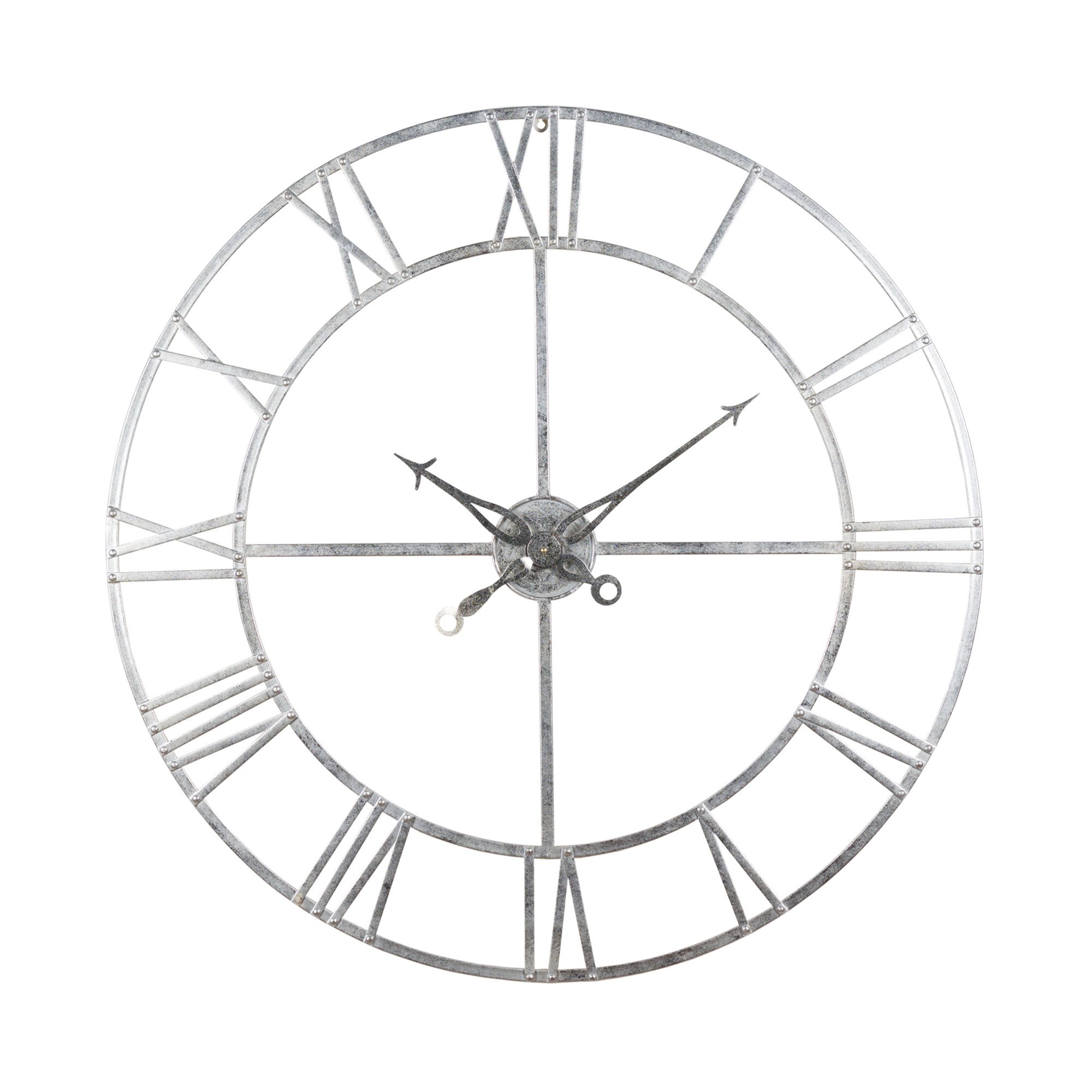 Large Silver Foil Skeleton Wall Clock Silver Wall Clocks