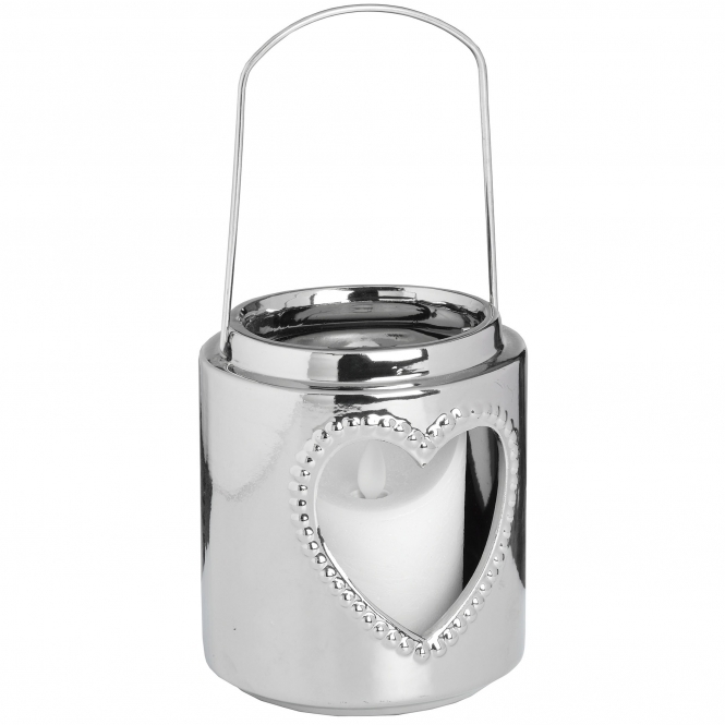 Large Silver Heart Candle Holder