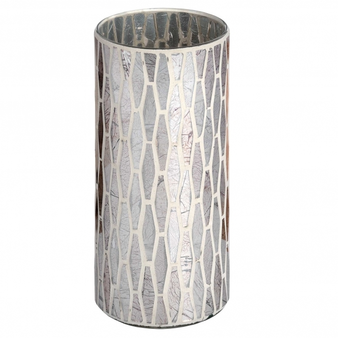 Large Silver Mosaic Candle Holder