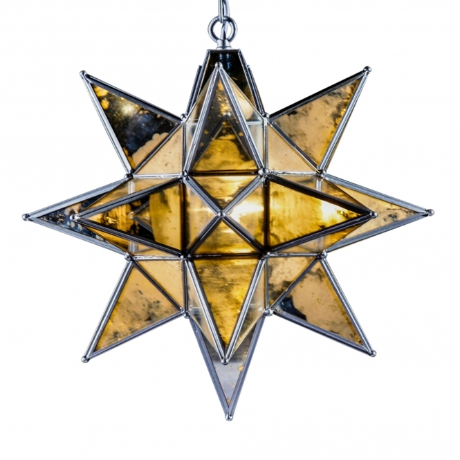 Large Silver Star Pendant Chandelier