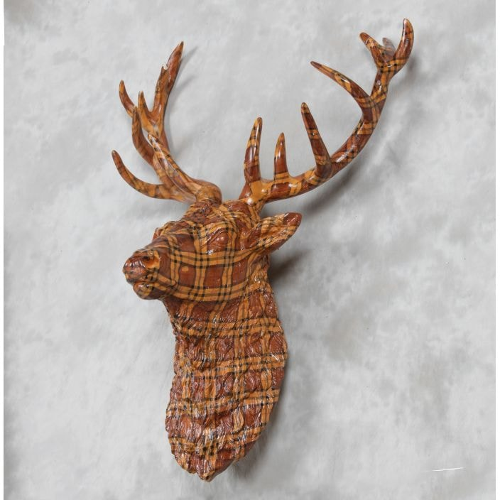 Large Tartan Stag Wall Head Collection Of Home Accessories