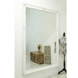 Large White Antique French Style Wall Mirror