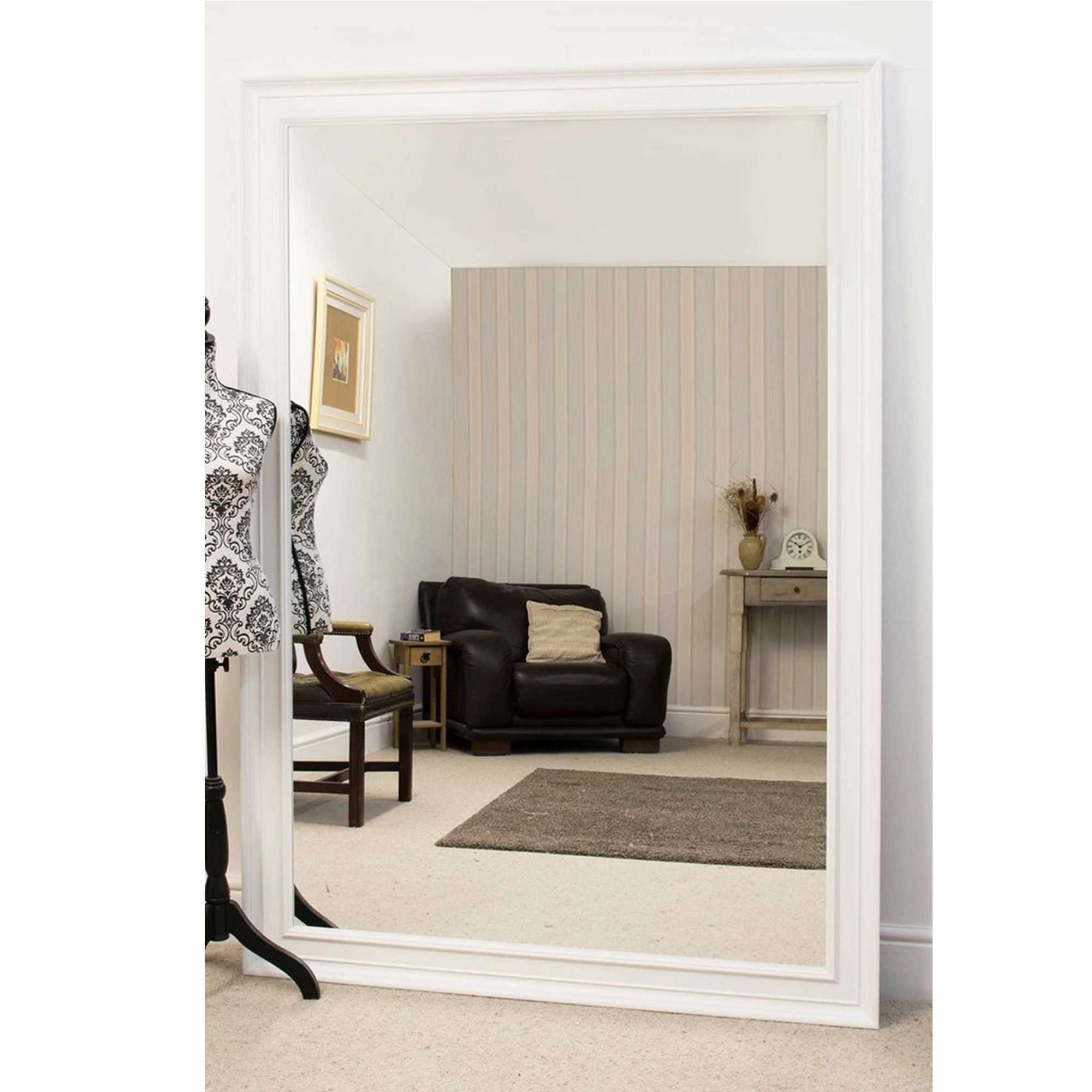 Large white antique french style mirror ornate white mirrors for Antique style wall mirror