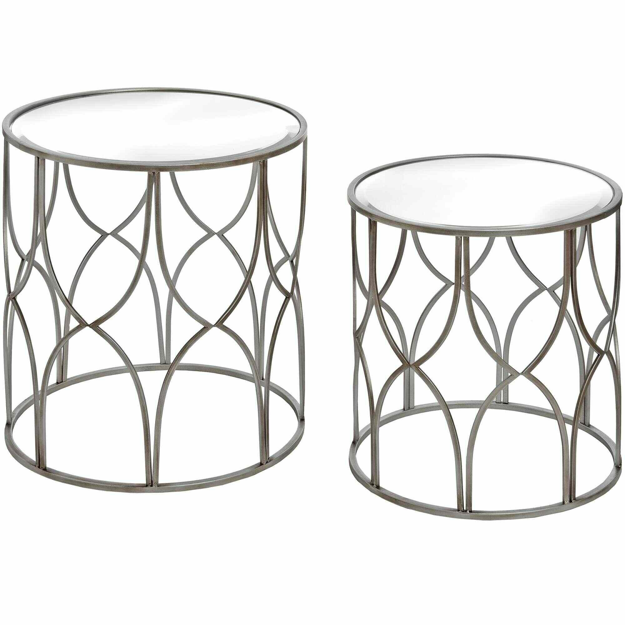 Sidetable Met La.Lattice Detail Silver Metal Side Table