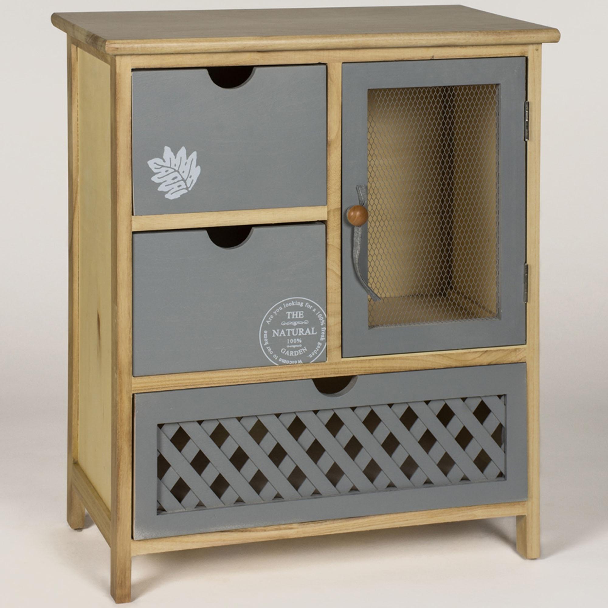Leaf 1 Door 3 Drawer Shabby Chic Cabinet